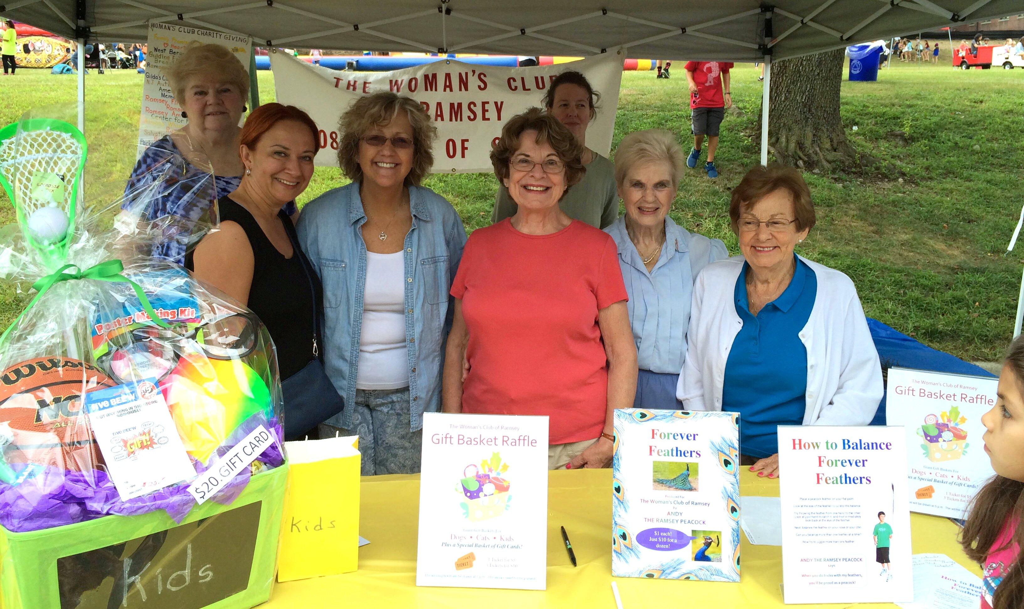 Dorothy Verdone, center, organized the Ramsey Day Gift Basket Raffle. Helpers included Betty Green, Jade Gunver, Helen Hodge, Marge Detweiler and Ginny Verdone.