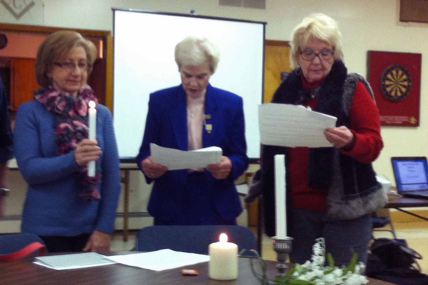 Toni Small is installed as a member of the Woman's Club by President Marjorie Detweiler and Membership Chairman Pat Bernius.