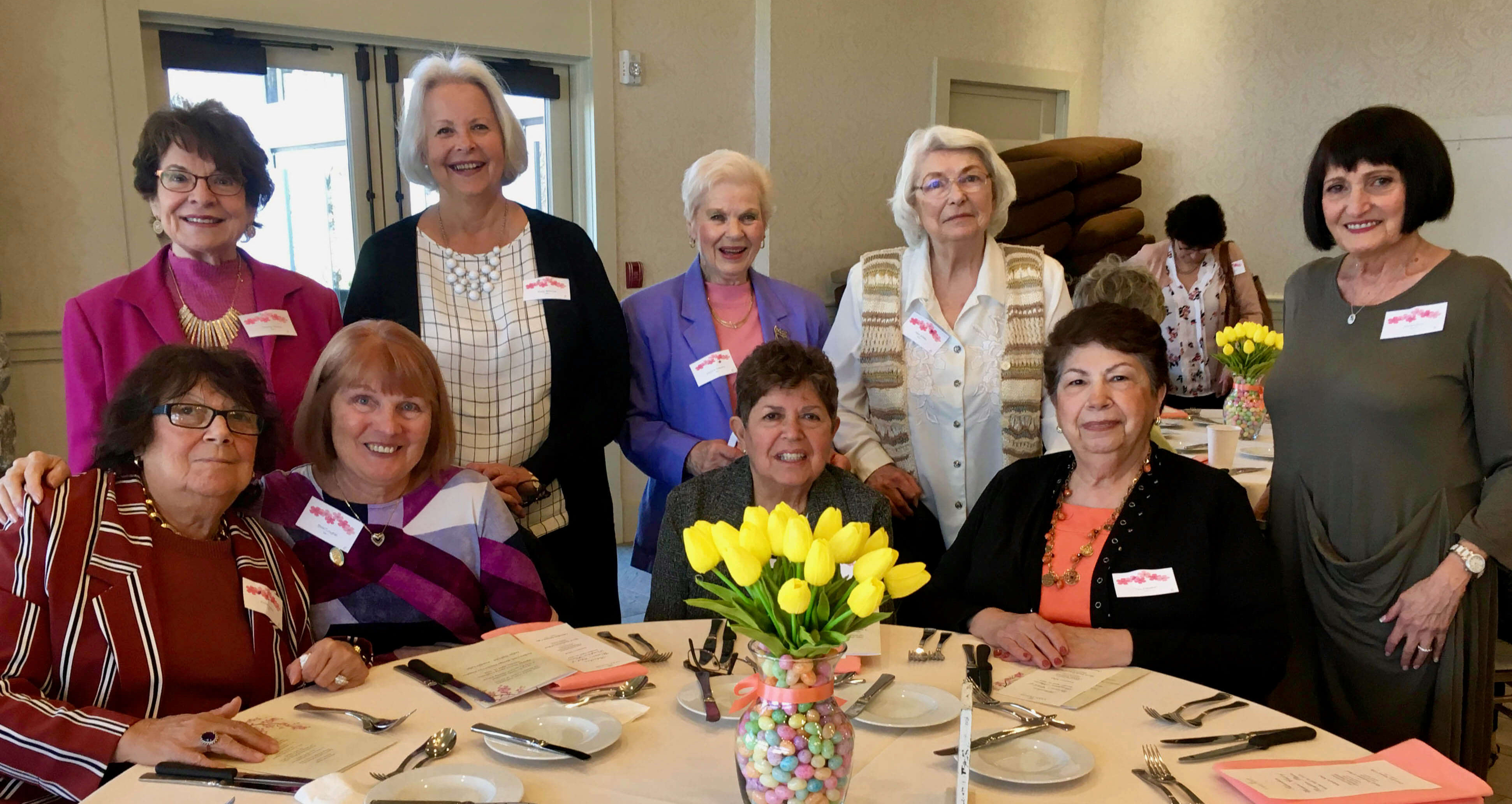 Dorothy Verdone, Kathy Ambrose, Marjorie Detweiler, Helen Mekita and Marilyn Saias, standing, and Elaine Muzzillo, Anne O'Loughlin, Julliet Borgersen, and Tina Pellicciari attended the April Achievement Day luncheon. The Club won two awards.
